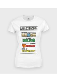 MegaKoszulki - Koszulka damska Dziewczyna Superbohaterka. Materiał: bawełna