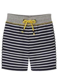 Bermudy chłopięce w paski Regular Fit bonprix ciemnoniebiesko-biały w paski. Kolor: niebieski. Wzór: paski