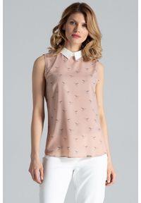 Różowa bluzka koszulowa Figl bez rękawów