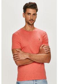 Polo Ralph Lauren - T-shirt. Okazja: na co dzień. Typ kołnierza: polo. Kolor: różowy. Wzór: aplikacja. Styl: casual