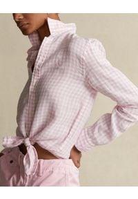 Ralph Lauren - RALPH LAUREN - Lniana koszula w kratę Relaxed Fit. Typ kołnierza: polo. Kolor: biały. Materiał: len. Długość rękawa: długi rękaw. Długość: długie. Wzór: haft