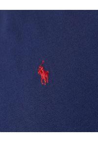 Ralph Lauren - RALPH LAUREN - Granatowa koszulka z logo Custom Slim Fit. Typ kołnierza: polo. Kolor: niebieski. Materiał: tkanina, bawełna. Wzór: haft