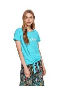 DRYWASH - T-shirt damski z krótkim rękawem i wiązaniem. Kolor: czarny. Materiał: tkanina, bawełna. Długość rękawa: krótki rękaw. Długość: krótkie. Wzór: napisy. Sezon: lato. Styl: wakacyjny