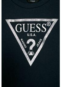 Niebieska bluza Guess Jeans z nadrukiem, na co dzień
