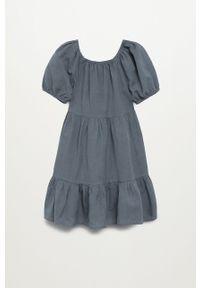 Szara sukienka Mango Kids gładkie, z krótkim rękawem, oversize