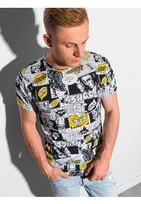 Ombre Clothing - T-shirt męski z nadrukiem S1420 - biały - XXL. Kolor: biały. Materiał: bawełna, poliester. Wzór: nadruk. Sezon: lato, wiosna