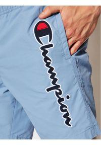 Champion Szorty kąpielowe Satin Script Logo 214428 Niebieski Regular Fit. Kolor: niebieski