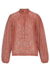 Różowa bluzka bonprix retro, w koronkowe wzory