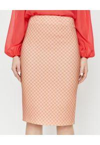 Elisabetta Franchi - ELISABETTA FRANCHI - Beżowa spódnica z wysokim stanem. Stan: podwyższony. Kolor: beżowy. Materiał: jedwab. Wzór: aplikacja, nadruk. Styl: elegancki