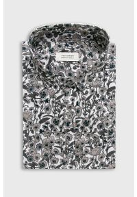 Szara koszula Tailored & Originals w kwiaty, długa, z klasycznym kołnierzykiem