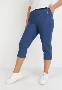 Born2be - Granatowe Spodnie Athizose. Kolekcja: plus size. Kolor: niebieski. Wzór: aplikacja