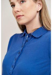 Marie Zélie - Sukienka Polo z gumką ciemnoniebieska krótki rękaw. Okazja: do pracy, na co dzień. Typ kołnierza: polo. Kolor: niebieski. Materiał: bawełna, dzianina, materiał. Długość rękawa: krótki rękaw. Typ sukienki: proste, sportowe. Styl: wakacyjny, sportowy, klasyczny, casual