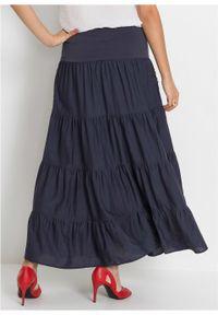 Długa spódnica bonprix ciemnoniebieski. Kolor: niebieski. Materiał: koronka. Długość: długie. Wzór: koronka