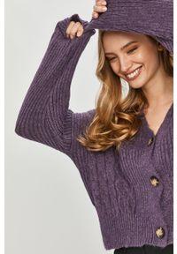 Fioletowy sweter rozpinany Answear Lab wakacyjny, długi