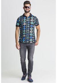 Koszulka polo Versace Jeans w jednolite wzory, sportowa