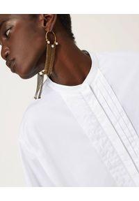 TwinSet - TWINSET - Biała koszula z bawełny. Okazja: do pracy, na spotkanie biznesowe, na co dzień. Kolor: biały. Materiał: bawełna. Długość rękawa: długi rękaw. Długość: długie. Styl: elegancki, casual, biznesowy