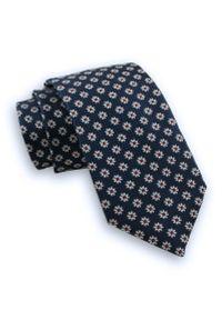 Granatowy Męski Stylowy Krawat -Chattier- 7cm, Klasyczny, Szeroki, w Białe Kwiatki, Stokrotki. Kolor: niebieski. Materiał: tkanina. Wzór: kwiaty. Styl: klasyczny, elegancki