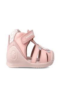 Różowe sandały Biomecanics z okrągłym noskiem, gładkie
