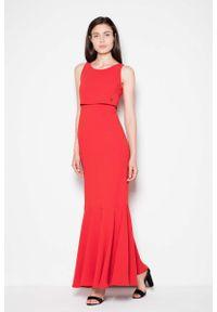 Venaton - Czerwona Wieczorowa Maxi Sukienka z Nakładką. Kolor: czerwony. Materiał: poliester, wiskoza, elastan. Styl: wizytowy. Długość: maxi