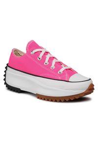 Różowe buty sportowe Converse do biegania, z cholewką