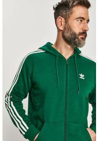 Zielona bluza rozpinana adidas Originals z kapturem, casualowa, z aplikacjami