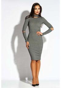 Dursi - Szara Sukienka Ołówkowa z Wycięciami. Kolor: szary. Materiał: elastan, poliester, wiskoza. Typ sukienki: ołówkowe