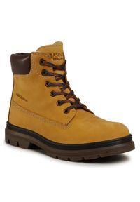 Brązowe buty zimowe Lasocki Young z cholewką przed kolano, z cholewką