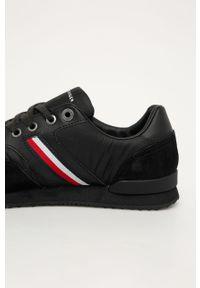 Czarne sneakersy TOMMY HILFIGER z cholewką, z okrągłym noskiem, na sznurówki