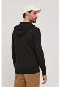 Czarny sweter rozpinany Strellson raglanowy rękaw, casualowy