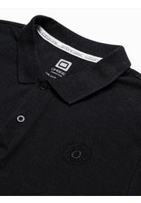 Ombre Clothing - Koszulka męska polo klasyczna bawełniana S1374 - czarna - XXL. Typ kołnierza: polo. Kolor: czarny. Materiał: bawełna. Wzór: haft. Styl: klasyczny #2