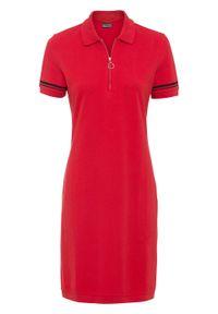Czerwona sukienka bonprix w prążki, z krótkim rękawem, dopasowana