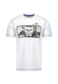 Aeronautica Militare - T-shirt AERONAUTICA MILITARE. Okazja: na co dzień. Materiał: bawełna, elastan. Długość rękawa: krótki rękaw. Długość: krótkie. Wzór: nadruk. Styl: klasyczny, casual