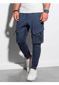 Ombre Clothing - Spodnie męskie joggery P1026 - niebieskie - XXL. Kolor: niebieski. Materiał: elastan, bawełna