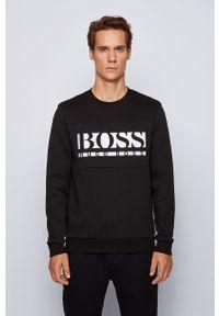 Czarna bluza nierozpinana BOSS z aplikacjami, casualowa