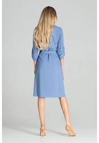 Niebieska sukienka Figl na imprezę, szmizjerki