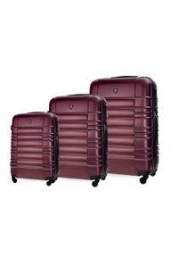 Solier - Zestaw walizek podróżnych STL838 burgundowy. Kolor: czerwony. Materiał: materiał