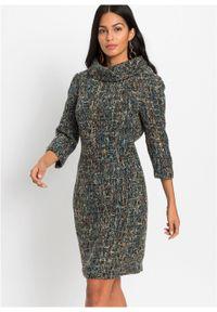 Sukienka ołówkowa tweedowa bonprix czarno-biały. Kolor: czarny. Typ sukienki: ołówkowe