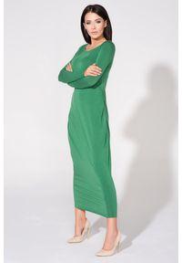 Zielona sukienka dresowa Tessita maxi