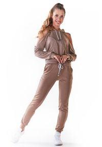 Infinite You - Dresowe Spodnie z Cienkiej Dzianiny - Beżowe. Kolor: beżowy. Materiał: dresówka, dzianina