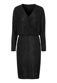 Czarna sukienka mini Cellbes z długim rękawem, dopasowana, elegancka