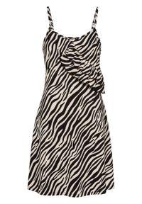 Sukienka shirtowa z falbaną bonprix biało-czarny w paski zebry. Kolor: biały. Długość rękawa: na ramiączkach. Wzór: motyw zwierzęcy, paski. Sezon: lato