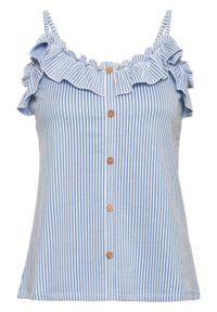 Top z dżerseju, kreszowany materiał bonprix niebiesko-biały. Kolor: niebieski. Materiał: jersey, materiał