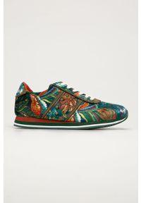 Zielone buty sportowe Desigual na sznurówki, na obcasie