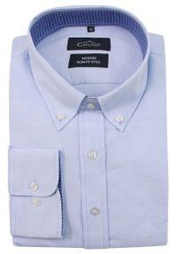 Niebieska elegancka koszula Chiao do pracy, z długim rękawem, z aplikacjami