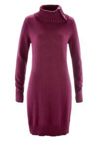 Fioletowy sweter bonprix długi, ze stójką