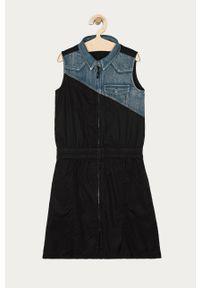 Czarna sukienka Desigual rozkloszowana, gładkie, mini