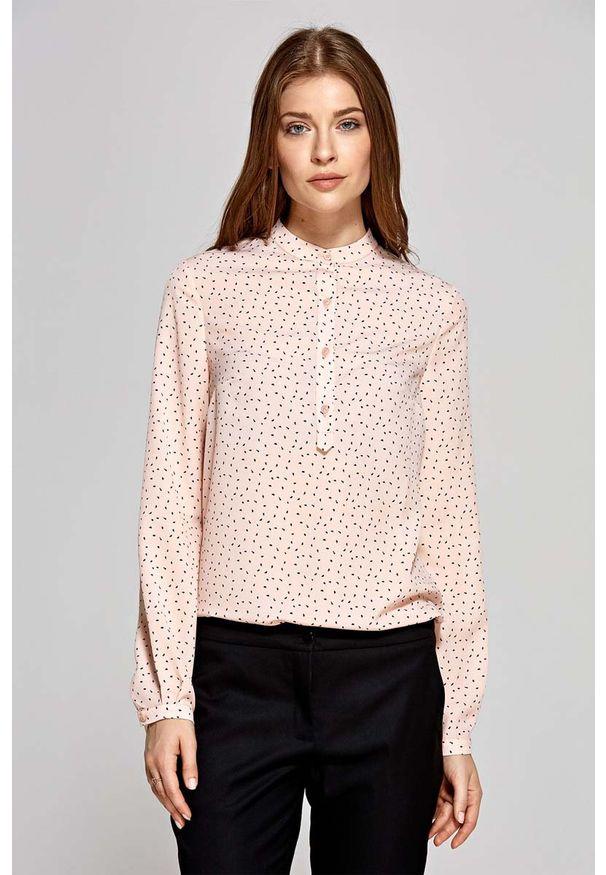 Nife - Koszulowa Bluzka Polo z Niską Stójką - Wzór Różowa. Typ kołnierza: kołnierzyk stójkowy, polo. Kolor: różowy. Materiał: elastan, poliester
