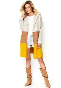 Żółty sweter oversize Makadamia długi, z kapturem