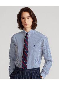 Ralph Lauren - RALPH LAUREN - Koszula w paski Custom Fit. Okazja: na co dzień. Typ kołnierza: polo. Kolor: niebieski. Materiał: bawełna. Długość rękawa: długi rękaw. Długość: długie. Wzór: paski. Styl: klasyczny, casual