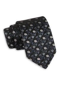 Czarny Klasyczny Szeroki Krawat w Szare Kwiatki -Angelo di Monti- 7 cm, Męski, Elegancki. Kolor: czarny, wielokolorowy, szary. Wzór: kwiaty. Styl: klasyczny, elegancki